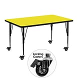 Flash Furniture Mobile 30x48 Rect Activity Table, 1.25 Yellow Laminate Top, Preschool Legs