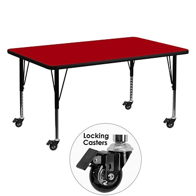 Flash Furniture Mobile 30Wx60L Rectangular Activity Table, Red Laminate Top, Adj Preschool Legs