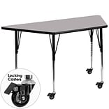 Flash Furniture Mobile 30Wx60L Trapezoid Activity Table, Gray Laminate Top & Height-Adj Legs