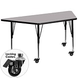 Flash Furniture Mobile 30Wx60L Trapezoid Activity Table, Gray Laminate Top, Adj Preschool Legs