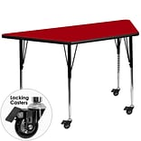 Flash Furniture Mobile 30Wx60L Trapezoid Activity Table, Red Laminate Top, Height-Adj Legs