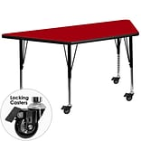Flash Furniture Mobile 30Wx60L Trapezoid Activity Table, Red Laminate Top, Adj Preschool Legs