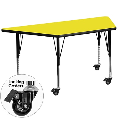 Flash Furniture Mobile 30x60 Trapezoid Activity Table, 1.25 Yellow Laminate Top, Preschool Legs