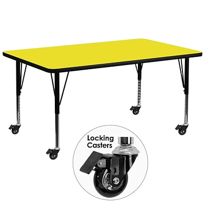 Mobile 30Wx72L Rectangular Activity Table, 1.25 Yellow Laminate Top, Height-Adj Preschool Legs