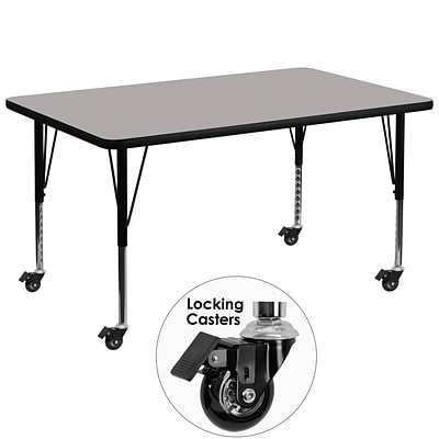 Flash 36x72 Rect Activity Table, 1.25 Thick High Pressure Grey Laminate Top, Height Adj Legs