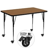 Flash Furniture Mobile 36Wx72L Activity Table, Thermal-Fused Oak Laminate Top, Height-Adj Legs
