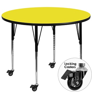 Flash Furniture Mobile 42 Rnd Activity Table, 1.25 Laminate Top, Stand Height-Adj Legs, Yellow