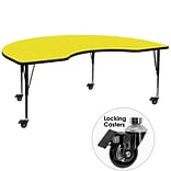 Flash Furniture Mobile 48x72 Kidney-Shaped Activity Table, 1.25 Yellow Laminate Top, Preschool