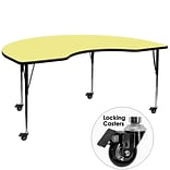 Flash Furniture Mobile 48x72 Kidney-Shaped Activity Table, Yellow Laminate Top, Height-Adj Legs