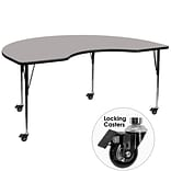Flash Furniture Mobile 48Wx96L Kidney-Shaped Activity Table, 1.25 Gray Laminate Top, Adj Legs