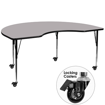 Flash Furniture Mobile 48Wx96L Kidney Shaped Activity Table w/Grey Laminate Top & Adj Legs