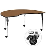 Flash Furniture Mobile 48Wx96L Kidney-Shaped Activity Table, Oak Laminate Top, Adjustable Legs