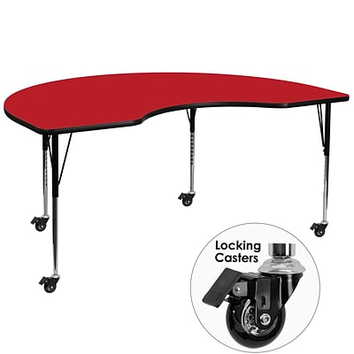 Flash Furniture Mobile 48Wx96L Kidney-Shaped Activity Table, 1.25 Red Laminate Top, Adj Legs
