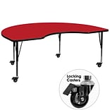 Flash Furniture Mobile 48x96 Kidney-Shaped Activity Table, 1.25 Red Laminate Top, Preschool Legs