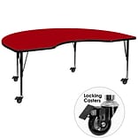 Flash Furniture Mobile 48x96 Kidney-Shaped Activity Table, Red Laminate Top, Adj Preschool Legs