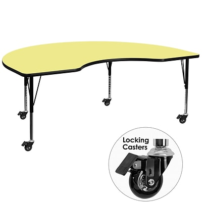 Flash Furniture Mobile 48Wx96L Kidney-Shaped Activity Table, Yellow Laminate Top, Preschool Legs