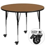 Flash Furniture Mobile 48 Round Activity Table, Oak Laminate Top, Standard Height-Adjustable Legs