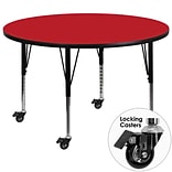 Flash Furniture Mobile 48 Round Activity Table, 1.25 Red Laminate Top, Height-Adj Preschool Legs