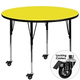 Flash Furniture Mobile 48 Round Activity Table, 1.25 Yellow Laminate Top, Height-Adjustable Legs