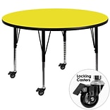 Flash Furniture Mobile 48 Round Activity Table, 1.25 Yellow Laminate Top, Adj Preschool Legs