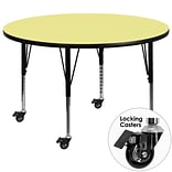 Flash Furniture Mobile 48 Round Activity Table, Yellow Laminate Top, Height-Adj Preschool Legs