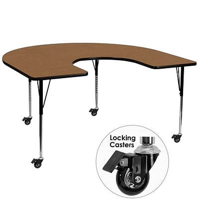 Flash Furniture Mobile 60x66 Horseshoe-Shaped Activity Table, Oak Laminate Top, Height-Adj Legs