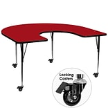 Flash Furniture Mobile 60x66 Horseshoe-Shaped Activity Table, Red Laminate Top, Height-Adj Legs
