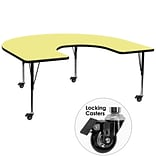 Flash Furniture Mobile 60x66 Horseshoe-Shaped Activity Table, Yellow Laminate Top, Preschool Legs