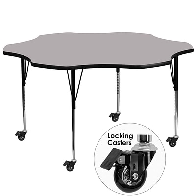 Flash Furniture Mobile 60 Flower-Shape Activity Table, Gray Laminate Top, Standard Height-Adj Legs