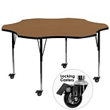Flash Furniture Mobile 60 Flower-Shaped Activity Table, Oak Laminate Top, Standard Height-Adj Legs