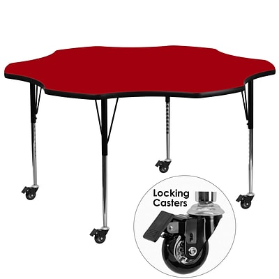 Flash Furniture Mobile 60 Flower-Shaped Activity Table, Red Laminate Top, Standard Height-Adj Legs
