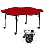 Flash Furniture Mobile 60 Flower-Shape Activity Table, Red Laminate Top, Height-Adj Preschool Legs