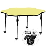 Flash Furniture Mobile 60 Flower-Shaped Activity Table, Yellow Laminate Top, Standard Adj Legs