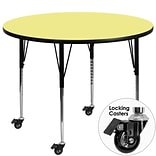 Flash Furniture Mobile 60 Round Activity Table, Yellow Laminate Top, Standard Height Adj Legs