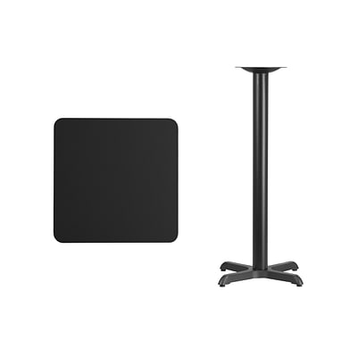 Flash Furniture 24 Square Laminate Table Top, Black w/22x22 Bar-Height Table Base