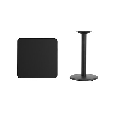 Flash Furniture 24 Square Laminate Table Top, Black w/18 Round Table-Height Base (XUBK2424TR18)