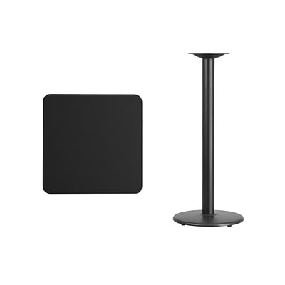 Flash Furniture 24 Square Laminate Table Top, Black w/18 Round Bar-Height Table Base