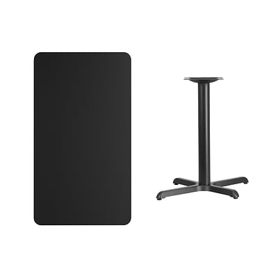 Flash Furniture 24x42 Rectangular Laminate Table Top, Black w/22x30 Table-Height Base