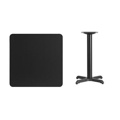 Flash Furniture 30 Square Laminate Table Top, Black w/22x22 Table-Height Base (XUBK3030T2222)