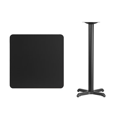 Flash Furniture 30 Square Laminate Table Top, Black w/22x22 Bar Height Table Base
