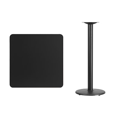 Flash Furniture 30 Square Laminate Table Top, Black w/18 Round Bar-Height Table Base
