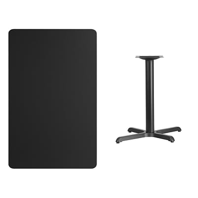 Flash Furniture 30x48 Rectangular Laminate Table Top, Black w/22x30 Table-Height Base