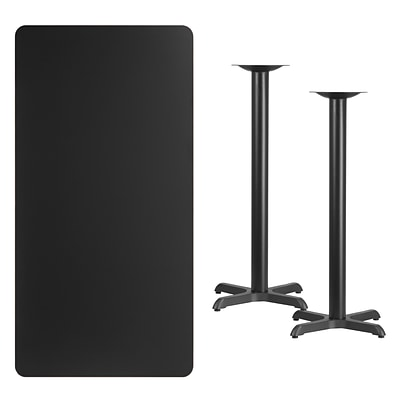 Flash Furniture 30x60 Rectangular Laminate Table Top, Black w/22x22 Bar-Height Table Bases