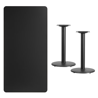 Flash Furniture 30x60 Rectangular Laminate Table Top, Black w/18 Round Table-Height Bases