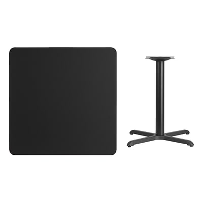 Flash Furniture 36 Square Laminate Table Top, Black w/30x30 Table-Height Base (XUBK3636T3030)
