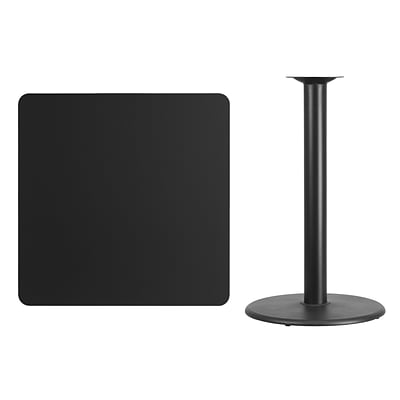 Flash Furniture 36 Square Laminate Table Top, Black w/24 Round Bar-Height Table Base
