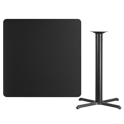 Flash Furniture 42 Square Blk Laminate Table Top w/33x33 Bar Height Table Base