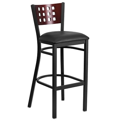 Flash Furniture Hercules Series Black Cutout-Back Metal Restaurant Barstool, Mahogany Back, Black