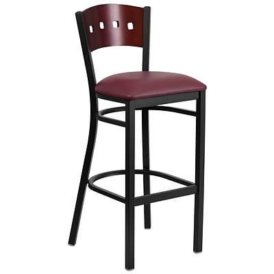 Flash Furniture Hercules 32 Black Decorative 4 Square Back Metal Barstool, Mahogany, Burgundy Vinyl