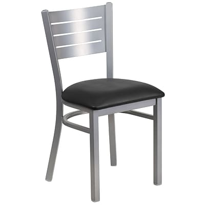 Flash Furniture Hercules Series Black Vinyl Slat Back Metal Restaurant Chair, Silver Finish,